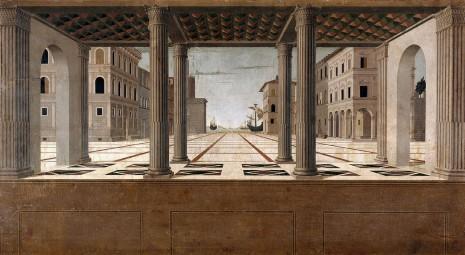 Renesansni pogled na ideal grada Frančeska Martinija (Architectural Venduta, 1490, Urbino, Italy)