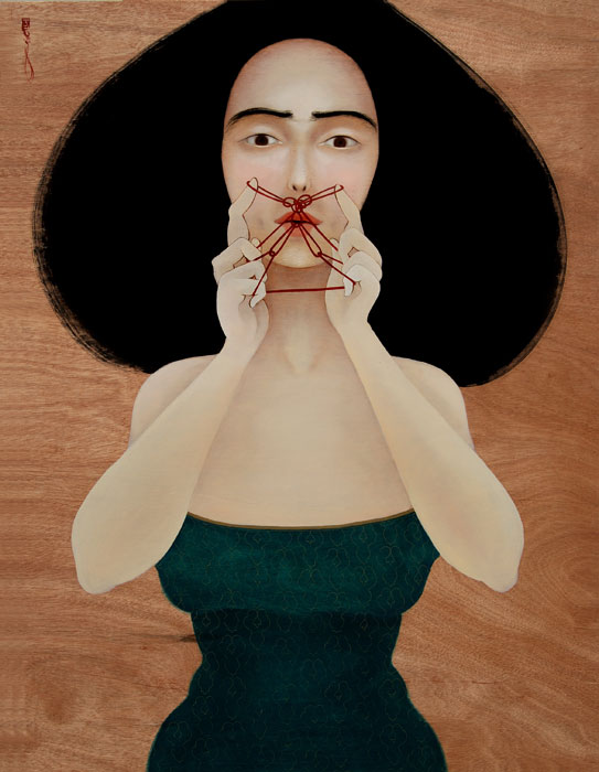 hayv-kahraman_threading-my-mustache_2010_oil-on-wooden-panel_112x87cm